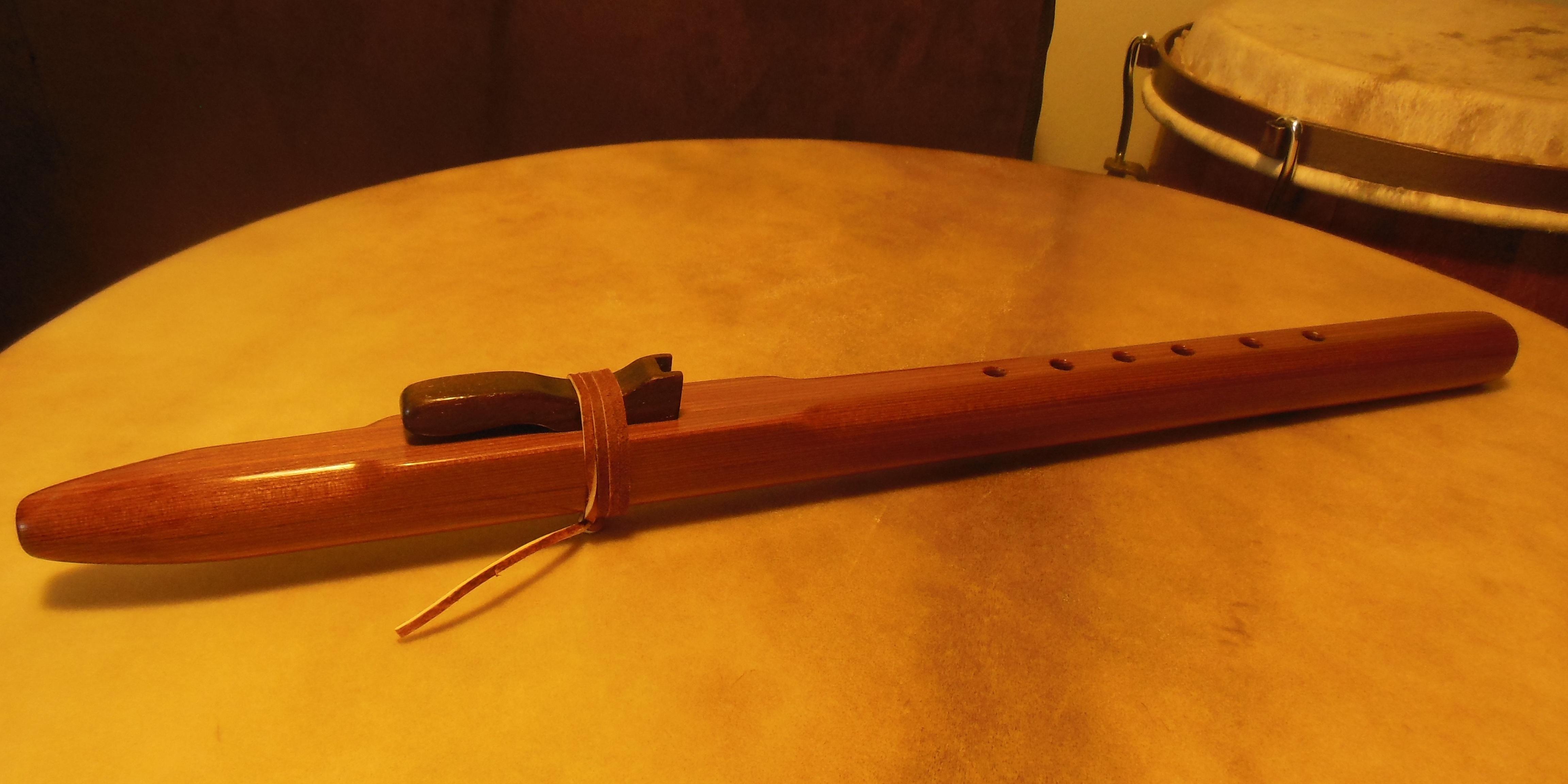 Red cedar flute with walnut fetish